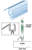 "Co-Extruded Clear Bottom Wipe with Drip Rail for 3/8"" Glass"