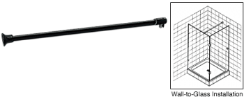 Black Frameless Shower Door Fixed Panel Wall-To-Glass Support Bar