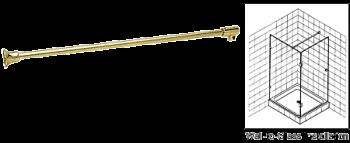 Brass Frameless Shower Door Fixed Panel Wall-To-Glass Support Bar