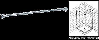 Chrome Frameless Shower Door Fixed Panel Wall-To-Glass Support Bar