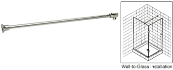 Polished Nickel Frameless Shower Door Fixed Panel Wall-To-Glass Support Bar