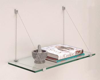 10 x 24 Cable Glass Shelf